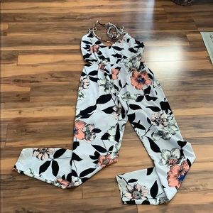 White and black floral jumpsuit